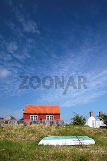 Red holiday cottage on Bornholm, Denmark