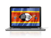 Swaziland flag on laptop screen isolated on white. 3D illustration