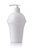 Front view of blank plastic white pump container