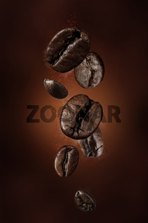 Fresh roasted falling coffee beans concept