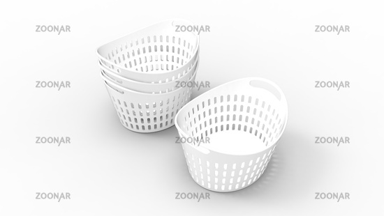 3D rendering of a basket plastic household object isolated.