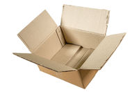 Side view of an unfolded empty cardboard box isolated on white