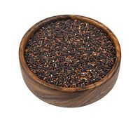 Black rice isolated on white background, top view