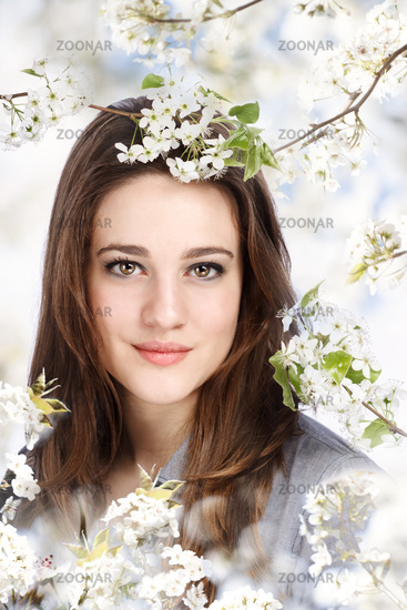 Beautiful Girl with Blooming Tree