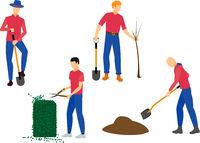 Men gardening in autumn - flat vector set