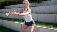 Female athlete exercising in park