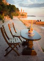 City beach of city of Rab Croatia