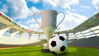 Cup and Soccer ball in the stadium
