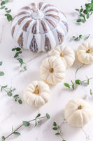 White pumpkins with eucalyptus branches on white background