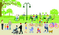 Families can relax in the leisure time in the city park
