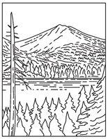Summit of Lassen Peak Volcano Within Lassen Volcanic National Park in Northern California United States Mono Line or Monoline Black and White Line Art