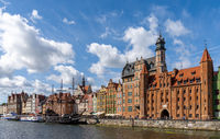 view of the Motlawa River waterfront in the historic Old Town of Gdansk