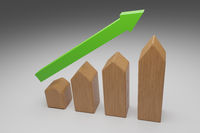 Puristic wooden house shapes with a green upswing arrow, 3d rendering