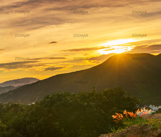 Sunset view over the mountain, Vietnam.