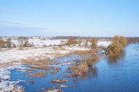 Banks of the river Elbe near Glindenberg near Magdeburg at high water in winter