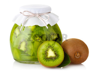 Exotic kiwi jam with ripe fruits and isolated on white