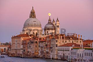 Sunset view of Basilica di Santa Maria della Salute (Saint Mary of Health), a Catholic church in Venice, Italy