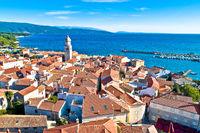 Historic  Adriatic town of Krk aerial view, Island of Krk