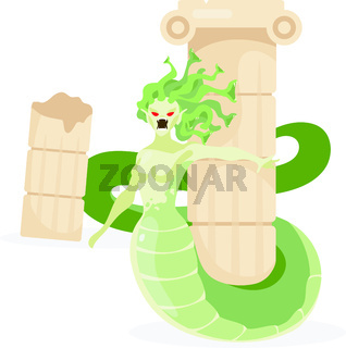Medusa Gorgon flat vector illustration. Mythological creature. Half-woman, half-serpent monster attack. Greek mythology. Fantastical beast near column isolated cartoon character on white background