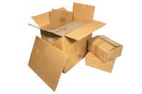 Several cardboard boxes of different sizes isolated on white