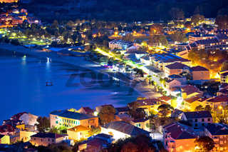 Baska. Aerial evening view of town of Baska