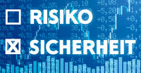 Conceptual image with financial charts and graphs - Risk or Safety in german - Risiko oder Sicherheit