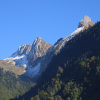 Rugged mountains and forest near Innerthal, Schwyz Canton.