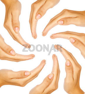 Human hands forming a circle with copy-space in the middle