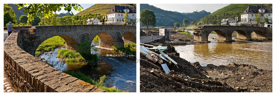 The Nepomuk bridge over the river Ahr before and after the flood disaster in 2021, Rech, Germany