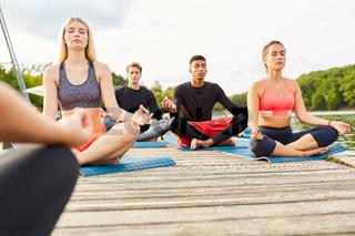Leute machen Yoga zusammen im Kurs draußen