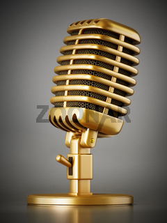 Retro golden microphone on dark background. 3D illustration