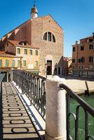 Venice - Italy: Campo San Pantalon with Bridge and Handrail