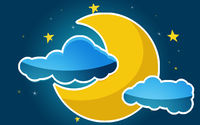 Moon and stars in the clouds
