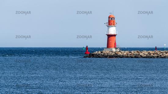 The eastern pier lighthouse in Warnemuende, Mecklenburg-Western Pomerania, Germany