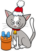 cartoon cat with bell and gift on Christmas time
