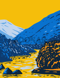 The Rio Grande Del Norte National Monument in Fall Located in Taos County New Mexico WPA Poster Art