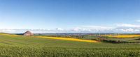 Panoramaaufnahme Landschaft Mansfelder Land mit Abraumhalden Bergbau