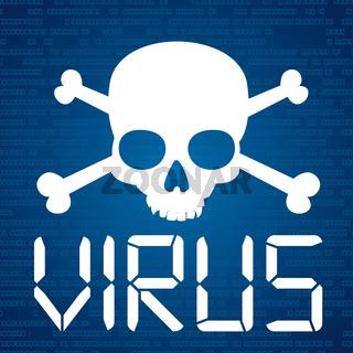 Blue Data Virus Skull