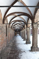 Arcades at historic town hall of Lubeck