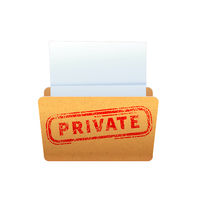 Bright yellow folder with red private stamp isolated on white