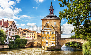 The old town hall in Bamberg on the Regnitz River