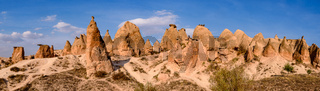 Panorama of Devrent Valley / Imaginary Valley, a valley full of unique rock formations in Cappadocia, Turkey