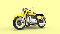 3D rendering of a motorcycle with a side span yellow isolated in studio background