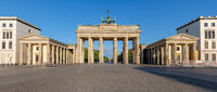 Panorama of the famous Brandenburg Gate in Berlin early in the morning with no people