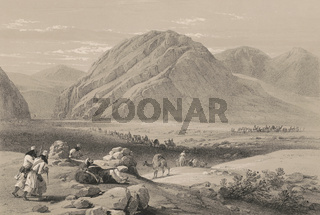 View of the mountain Baba-Naunee; called Kutl-Gahor, First Anglo-Afghan War, sketch by James Atkinson, 1840