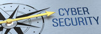 Compass needle pointing to the words Cyber Security - 3d rendering