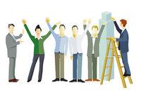 Fröhliche erfolgreiche Mannschaft jubeln und sind zuversichtlich Bilanz im Aufschwung- illustration