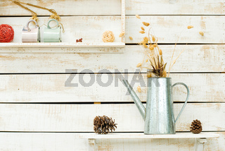 Plants on white rough wooden wall as Decoration