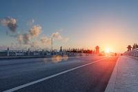 bridge deck road in sunset