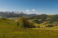 Idyllic mountain landscape in the Appenzellerland with view of Mt. Saentis